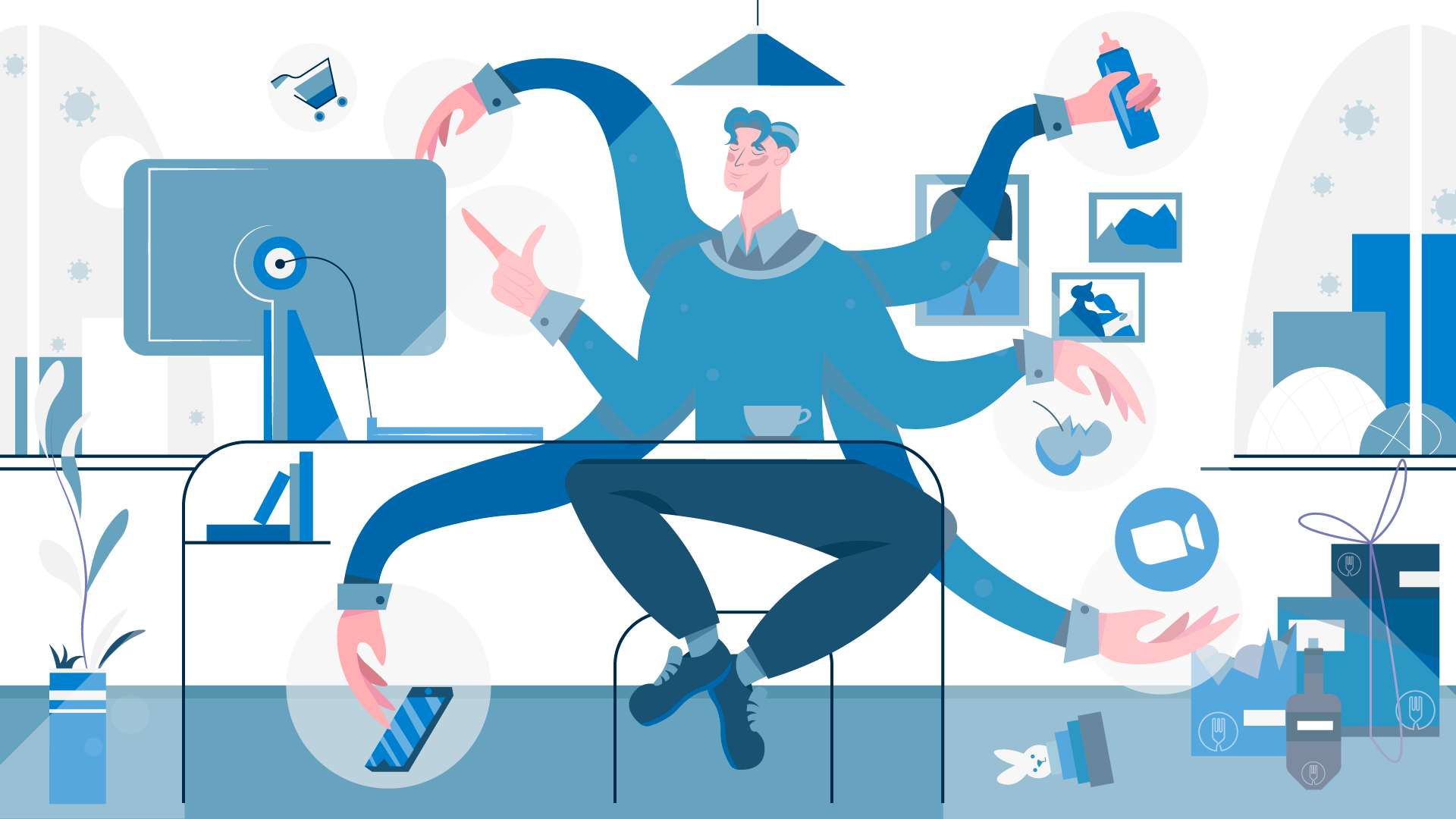 Multi arm work from home employee balancing all of life illustration