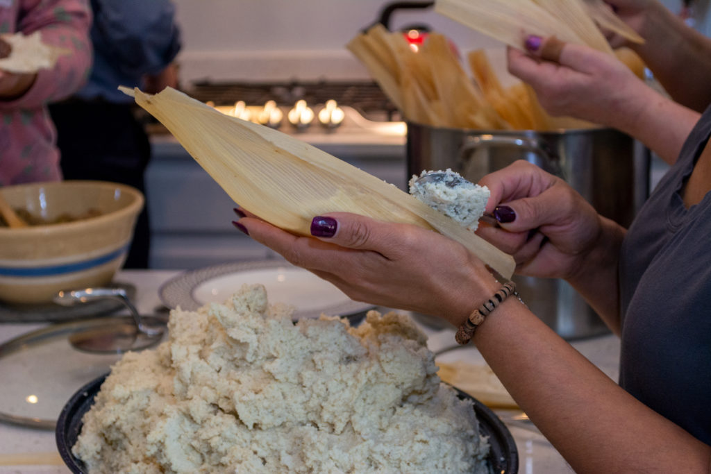 Workers making tamales