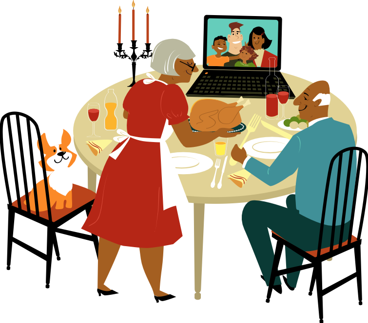 Illustration of grandparents having a Zoom dinner with family.