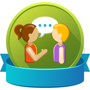 Mentorship - two people talking badge