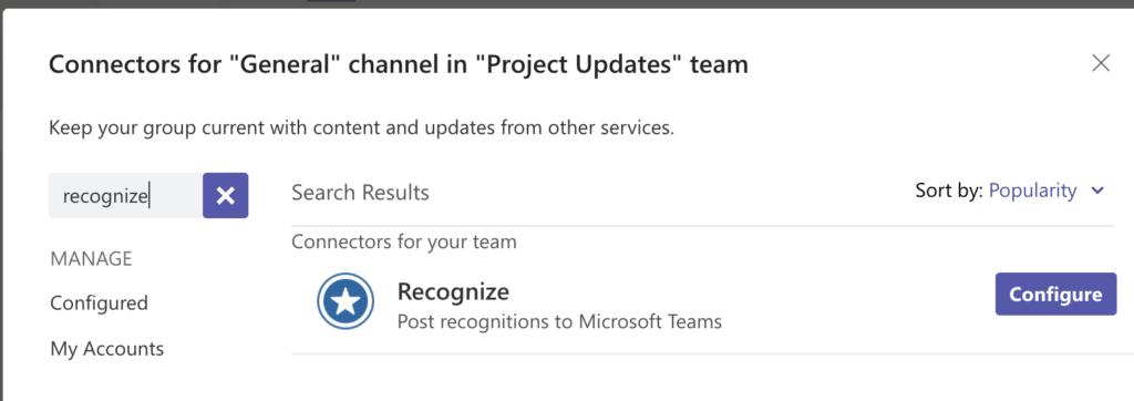 MS Teams Connector Settings