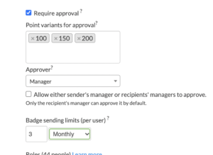 Employee recognition approval settings